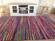 colourful rugs ❤️shabby chic rag rug multi coloured with fringed edges 150cm x 210cm fair FDTTJNT