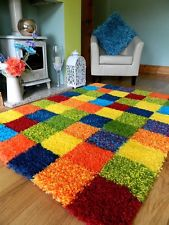 colourful rugs multi coloured funky bright modern thick soft heavy quality shaggy area rug VBVASGK