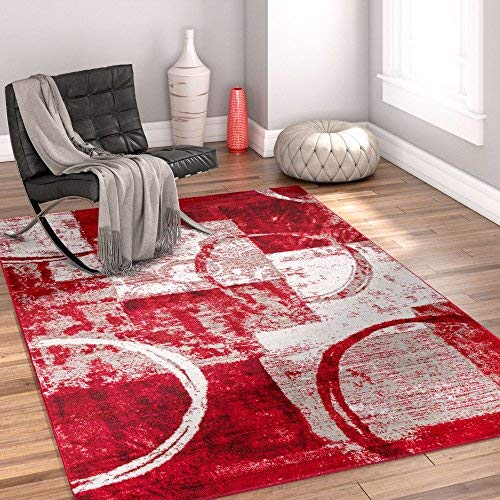 cool rugs dreamy shapes u0026 circles red modern geometric boxes 8 x 10 (7u002710 LTUESAA
