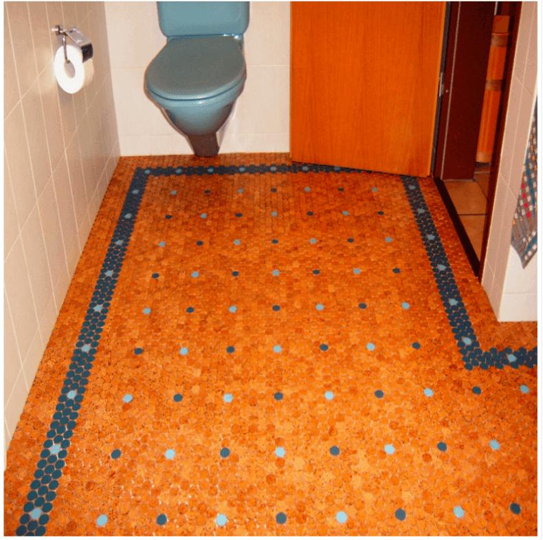 cork floor tiles orange and blue cork tiles in a bathroom throughout flooring idea 6 GZSXFKA