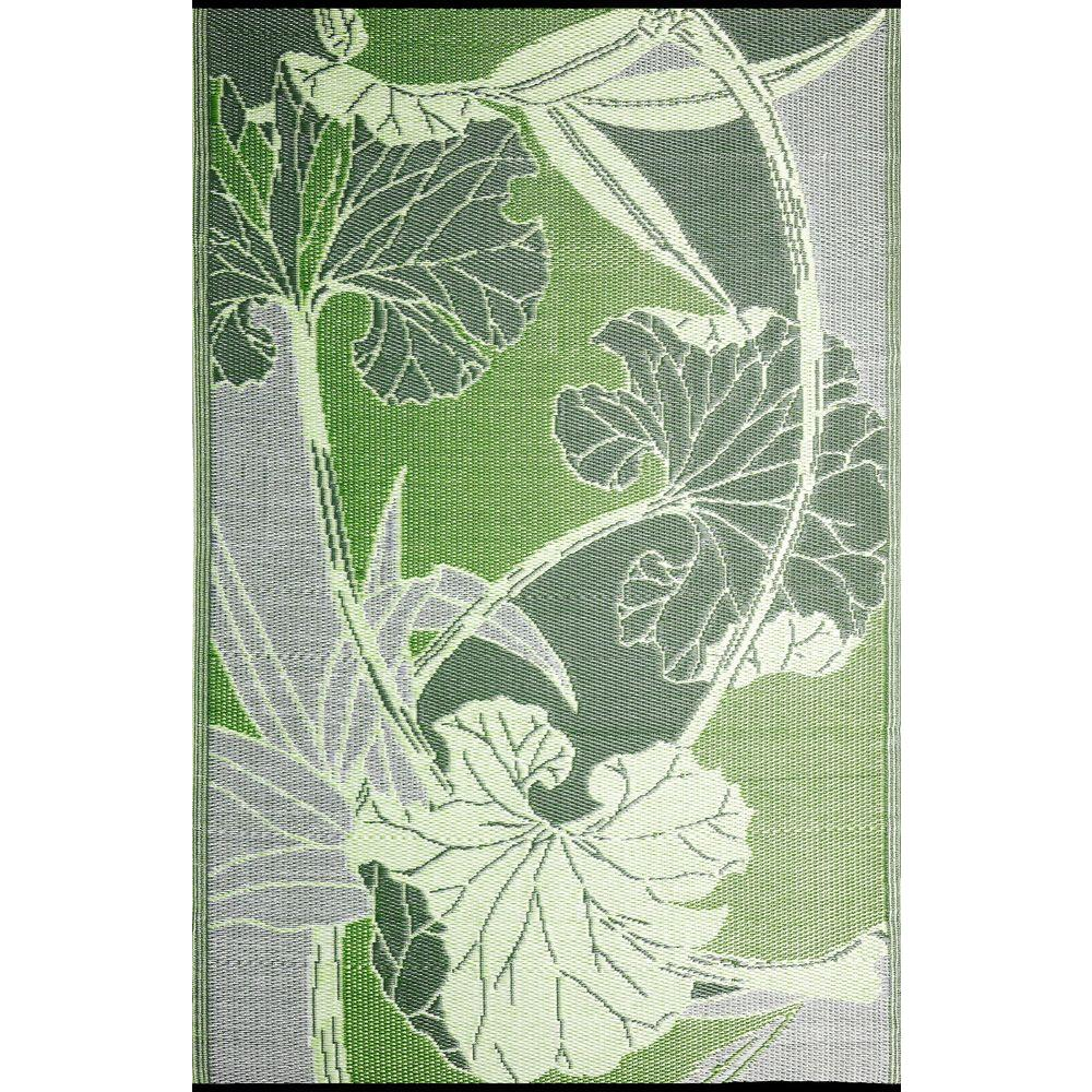 designer area rugs b.b.begonia blossom green/grey 6 ft. x 9 ft. outdoor reversible area JONBSEE