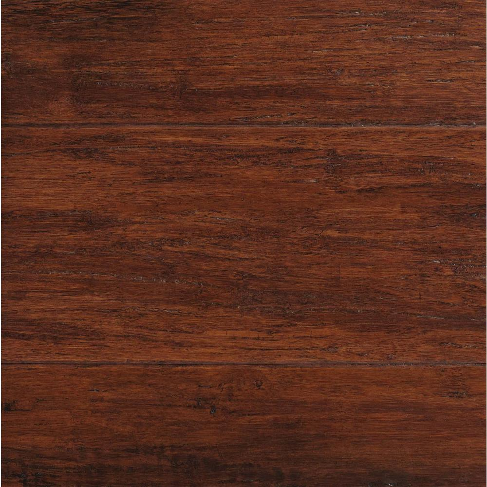 engineered bamboo flooring home decorators collection hand scraped strand woven brown 3/8 in. t x YHEMFNB