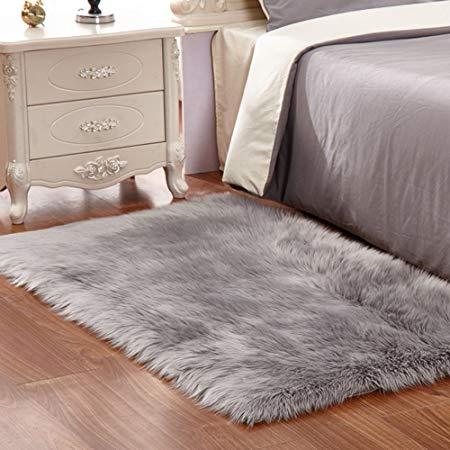 faux fur rug grey soft fluffy rug shaggy rugs faux sheepskin rugs floor FXIZJSI