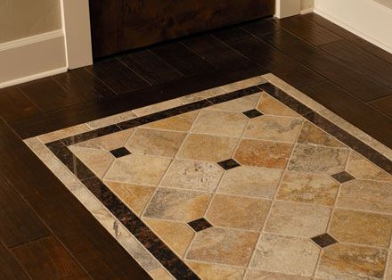 Floor tile designs tile inlayed detail in wood floor. match the shower to the travertine tile. ADPJBFZ