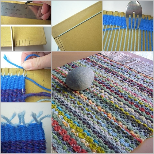 Handmade woven rugs how to diy woven rug with cardboard and fork VASHBIY