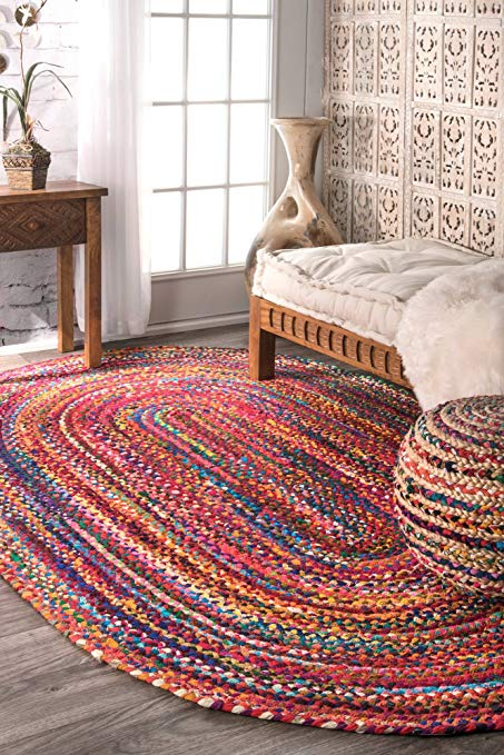 Handmade woven rugs nuloom handmade casual cotton braided area rugs, 4u0027 x 6u0027, multicolor KJUODHE