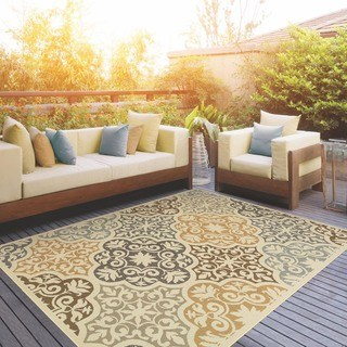 indoor outdoor area rugs carson carrington huddinge floral ivory/grey indoor-outdoor area rug HMJDCTJ