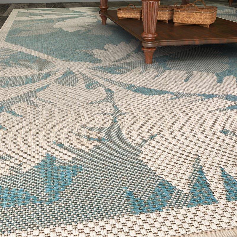 indoor outdoor area rugs odilia coastal flora ivory/turquoise indoor/outdoor area rug SLMZQYN