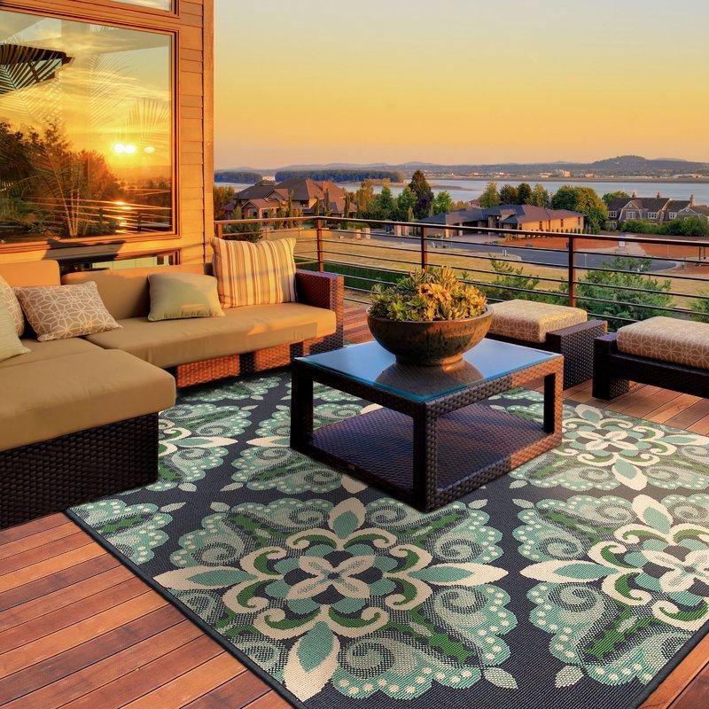 kailani contemporary blue/green indoor/outdoor area rug XCZHZUW