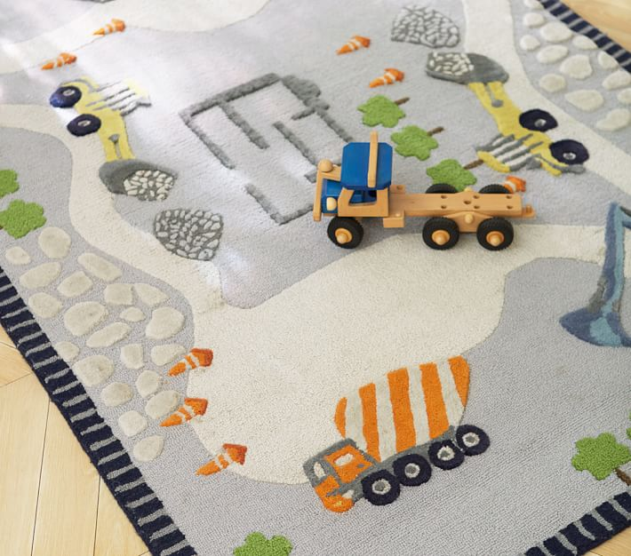 kids rug construction rug | pottery barn kids JGRJTRF