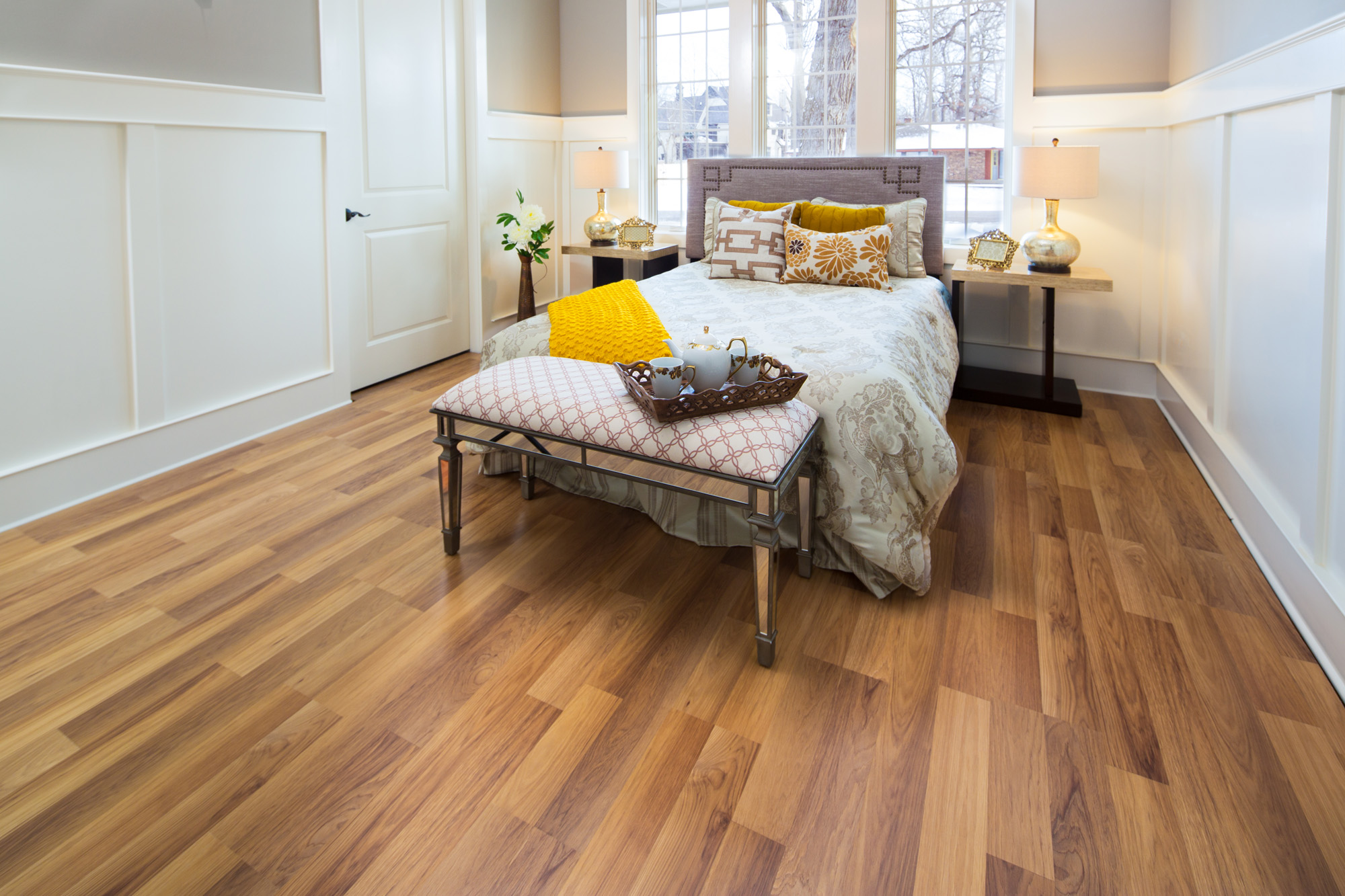 laminate flooring colors styles classic pecan laminate in bedroom ... CENUSWL