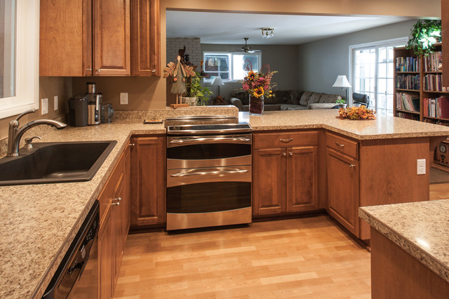 laminate flooring kitchen cabinets birch kitchen cabinets, laminate flooring, stainless steel double oven  craftsman-kitchen TXLBOTI