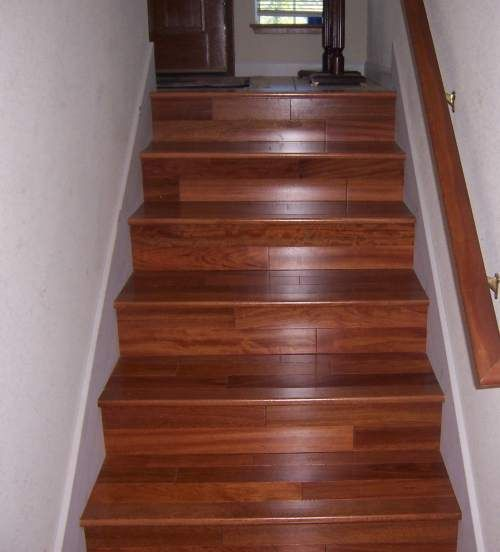 laminate flooring on stairs see rustic wood railing http://awoodrailing.com TBEDMPB