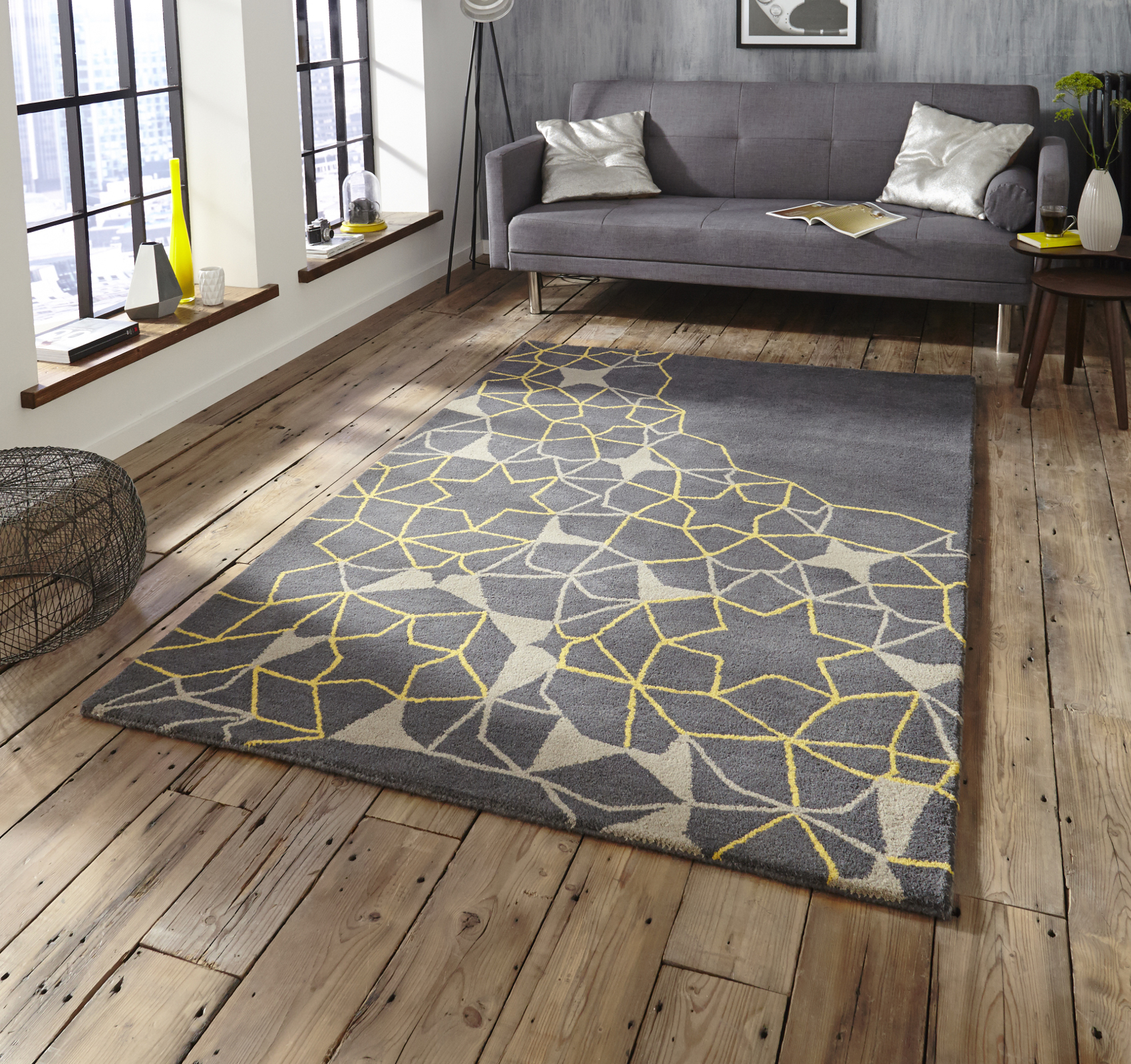 Large floor rugs grey u0026 yellow geometric rug 100% wool arrows u0026 stars hand tufted large RWVIPLI