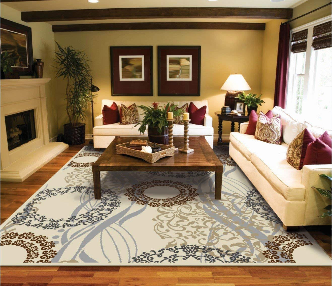 large living room rugs amazon.com: large area rugs 8x11 dining room rugs for hardwood floors cream WRIOGDI