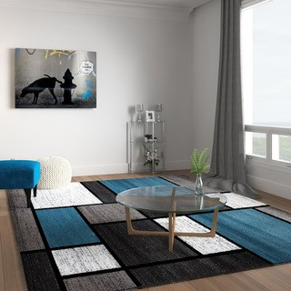 large living room rugs contemporary modern boxes blue/grey area rug - 7u002710 ZFFCJGW