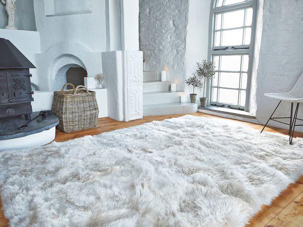 large rug luxurious xl sheepskin rug - linen ... JUVCRHV