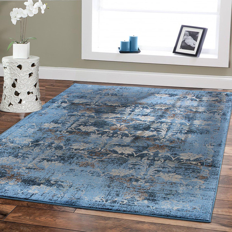 luxury rugs amazon.com: premium soft rugs luxury contemporary rug dark blue 5x8 rugs  fashion IANPIFJ