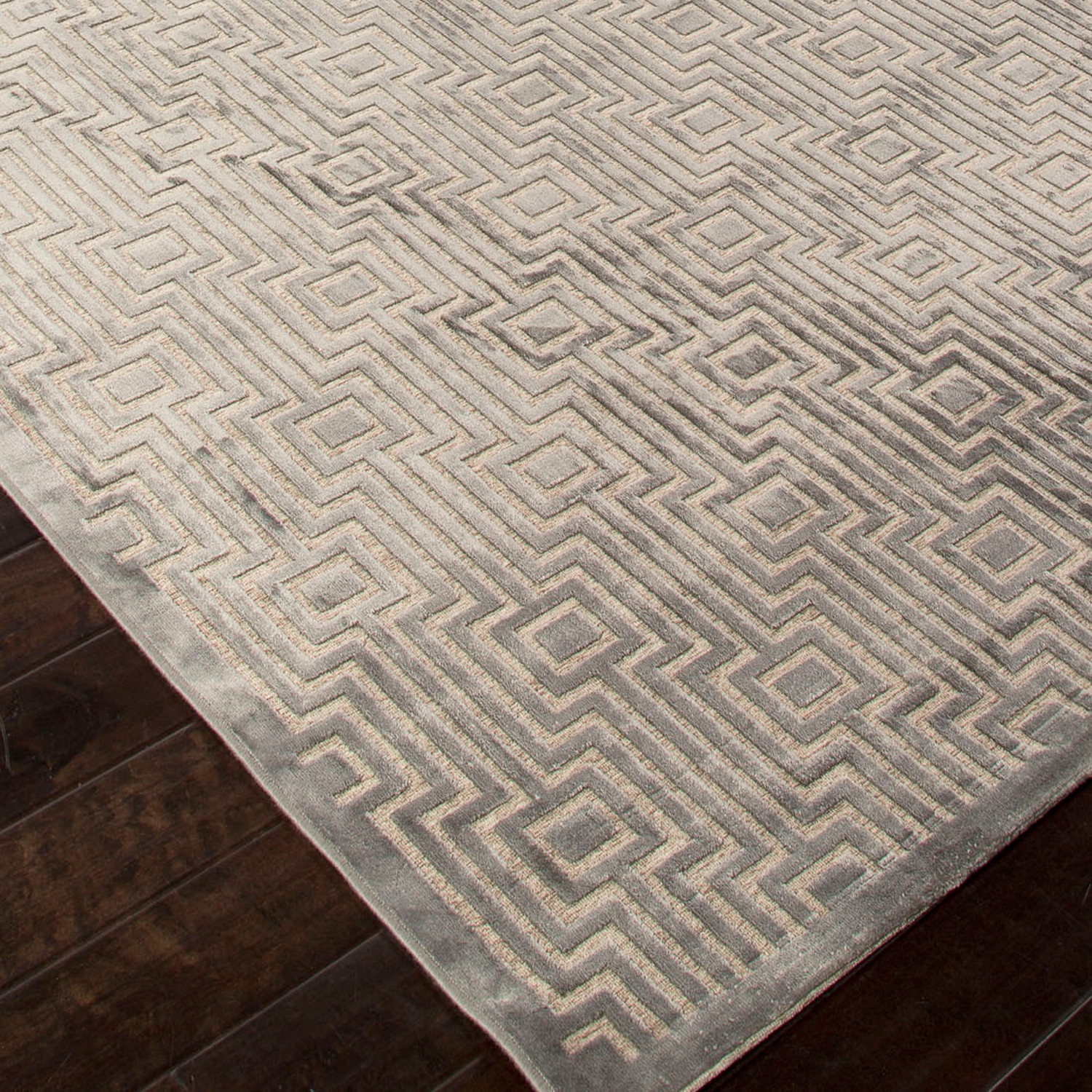 machine made geometric art silk u0026 chenille rug // gray u0026 tan PILLKSW
