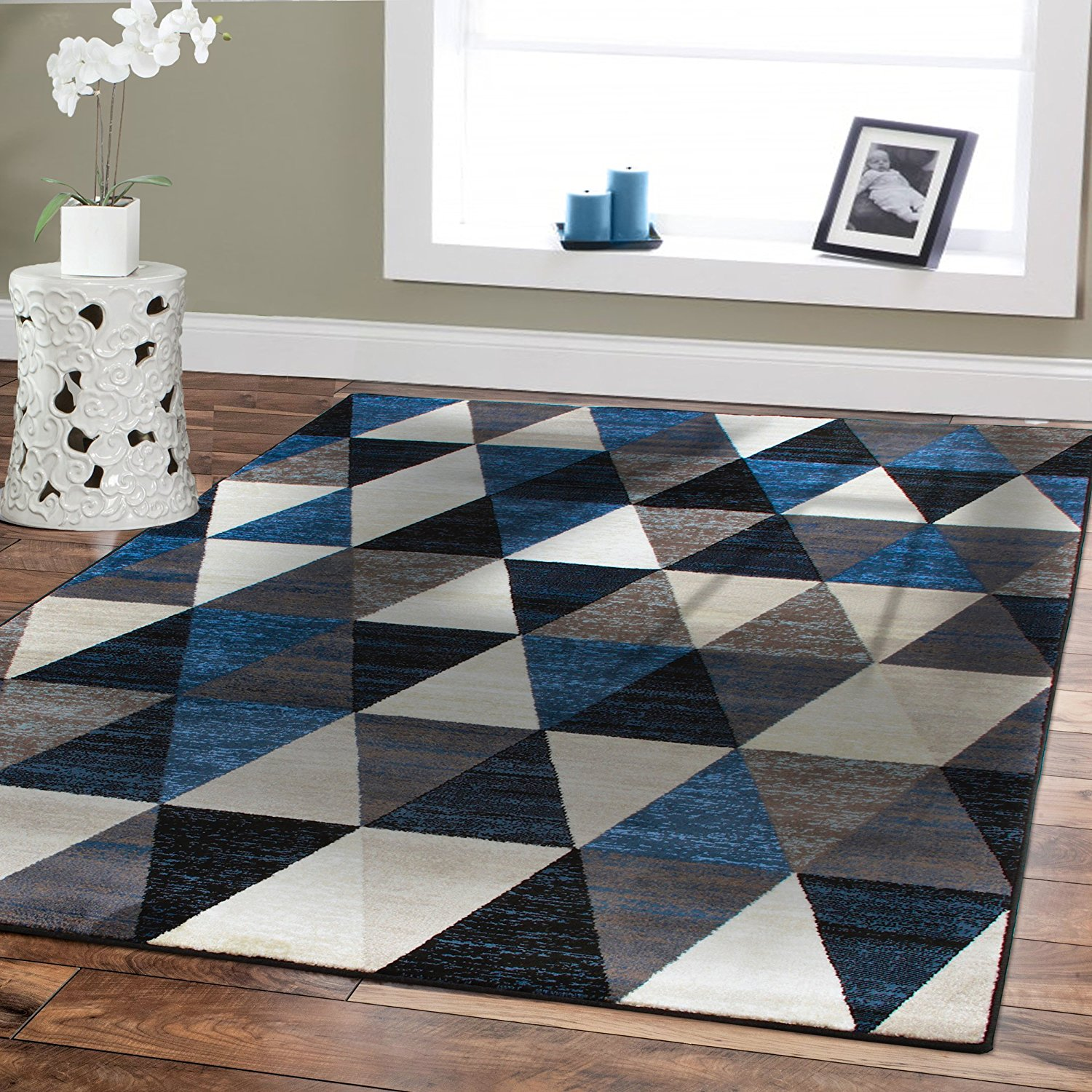 modern black area rug amazon.com: new premium rugs for bedroom carpet black triangle style 2x3  foyer YXBSIDB