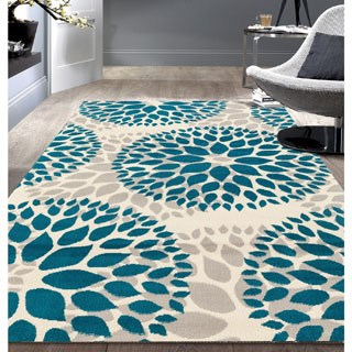 modern floral design blue area rug (7u00276 x ... QDPISZT