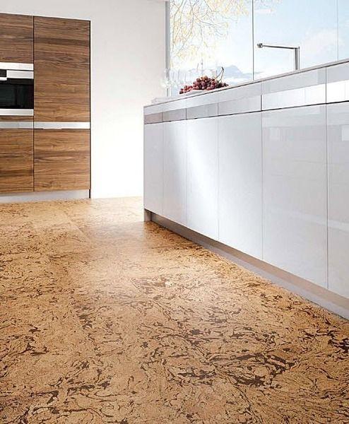 modern kitchen with textural cork floors UFYHSWV