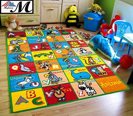mybecca kids rug alphabet animals 3u0027 x 5u0027 children abc area rug for FMLPKZL
