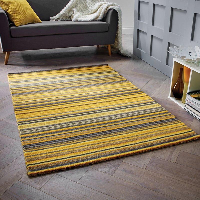 nassar hand-woven wool yellow rug ESHKUDT
