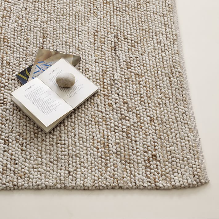 natural rugs mini pebble wool jute rug - natural/ivory | west elm SCMSOTT