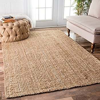 natural rugs nuloom handwoven jute ribbed solid area rugs, 5u0027 x 8u0027, natural GMZHKCC