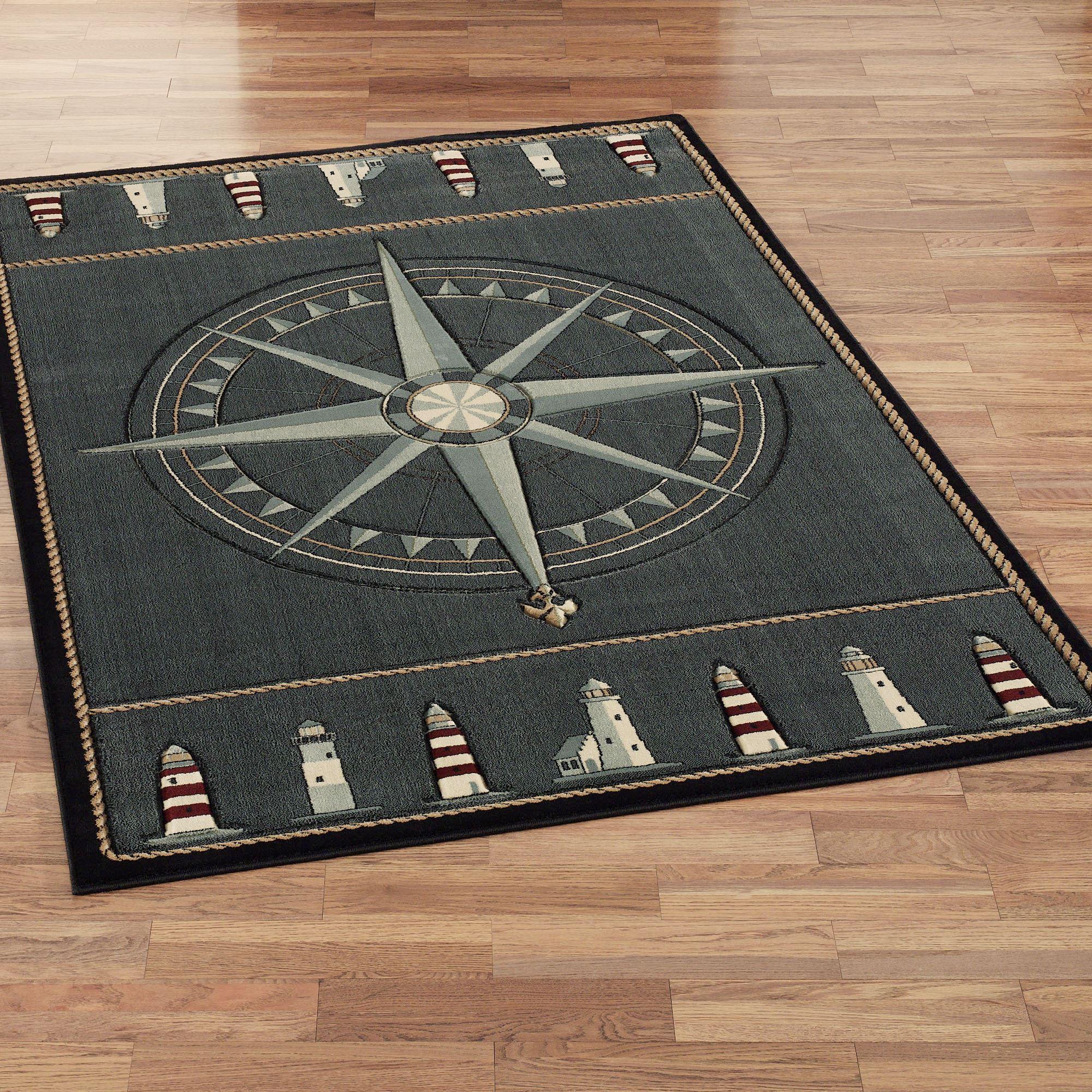 nautical rugs compass rose rectangle rug grey denim NOLZEPF