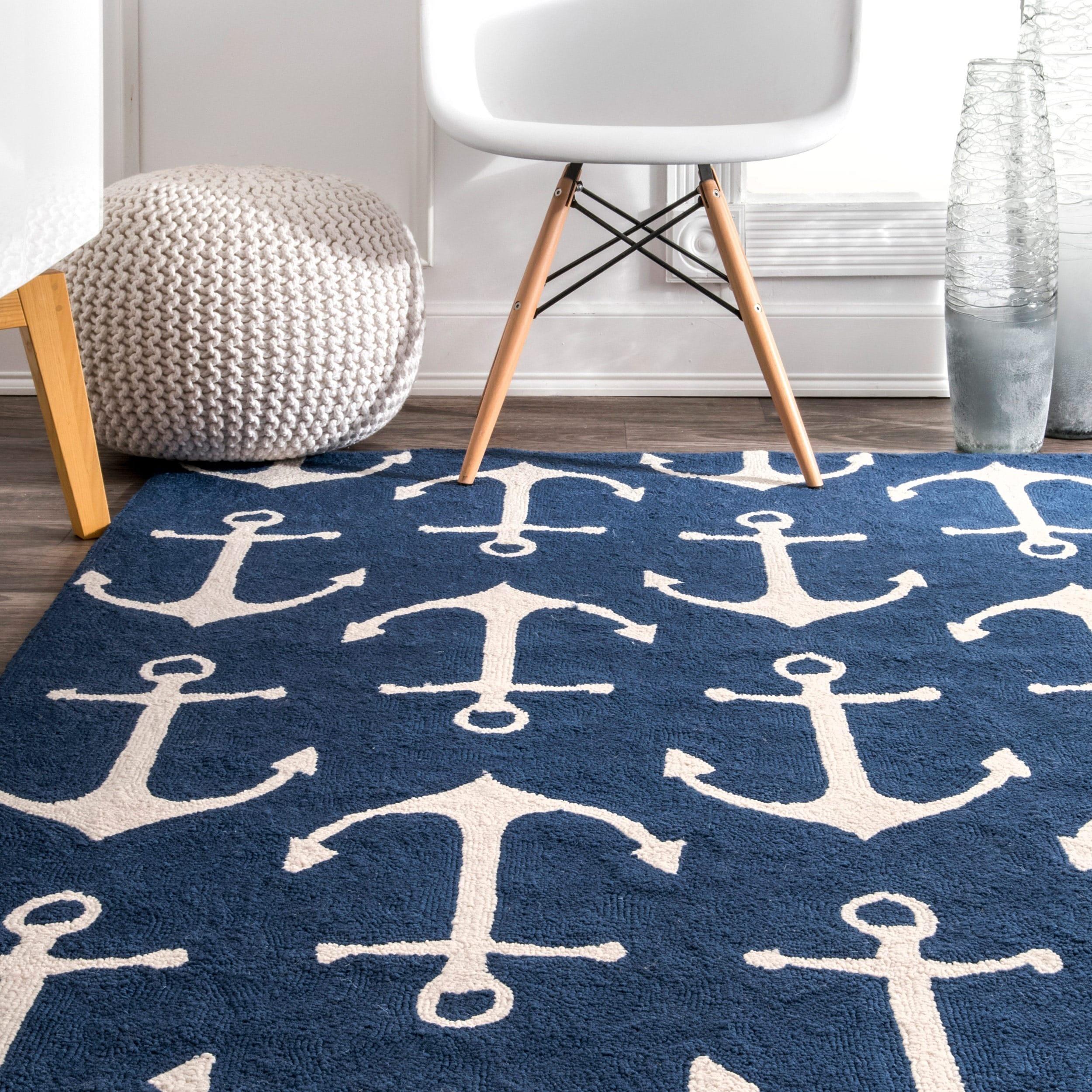 nautical rugs nuloom indoor/ outdoor novelty nautical anchors rug - 5u0027 x 8u0027 - free JOWTBYH