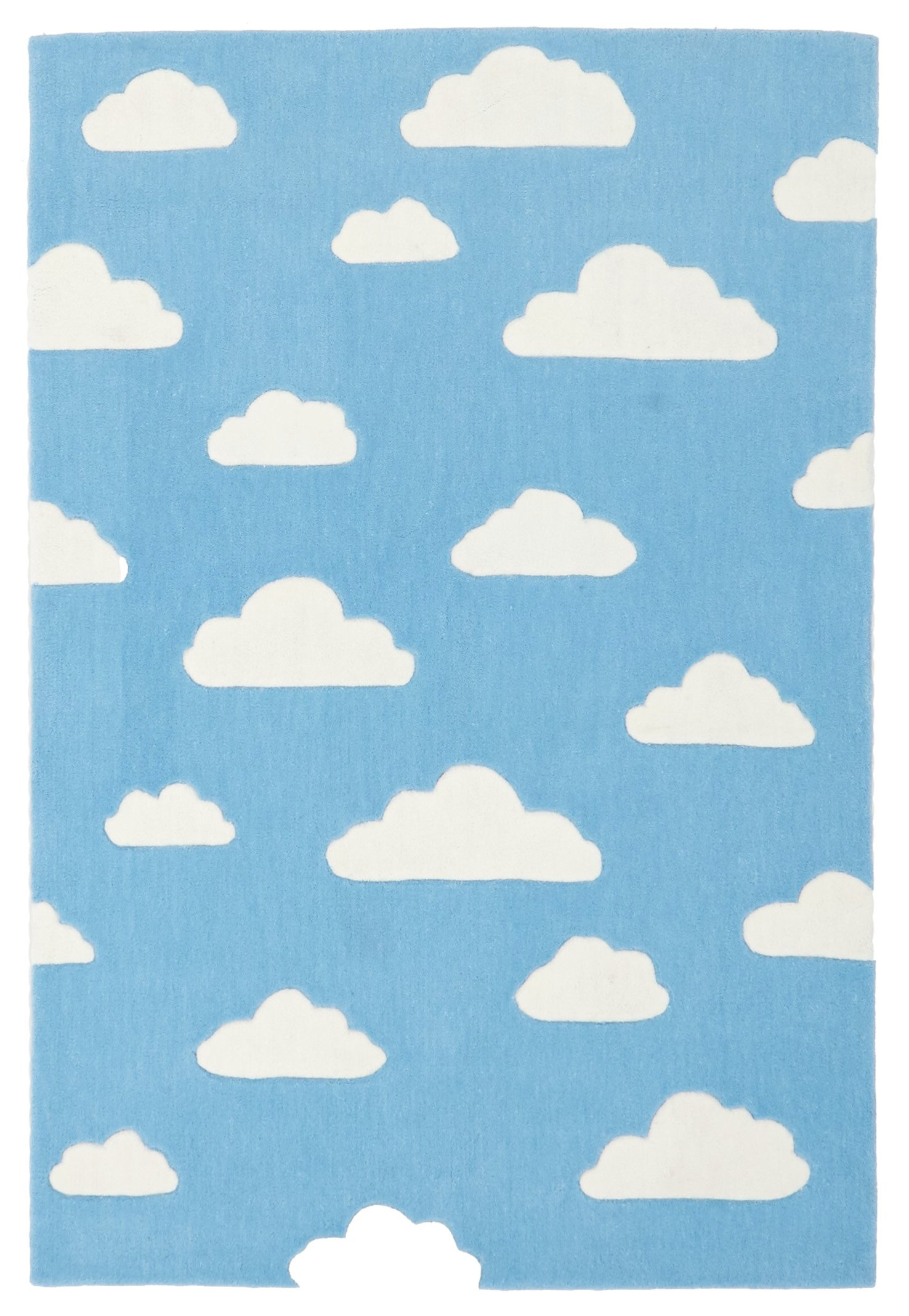 neverland blue u0026 white clouds kids rug ERTWNGJ