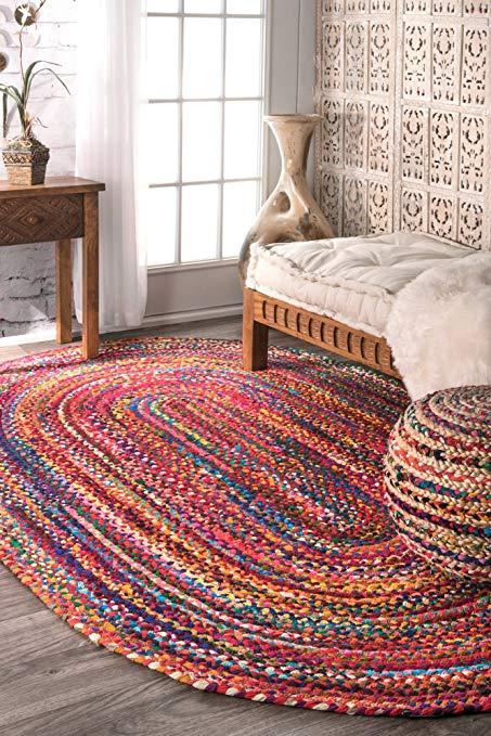 nuloom handmade casual cotton braided area rugs, 4u0027 x 6u0027, multicolor WHICPBR