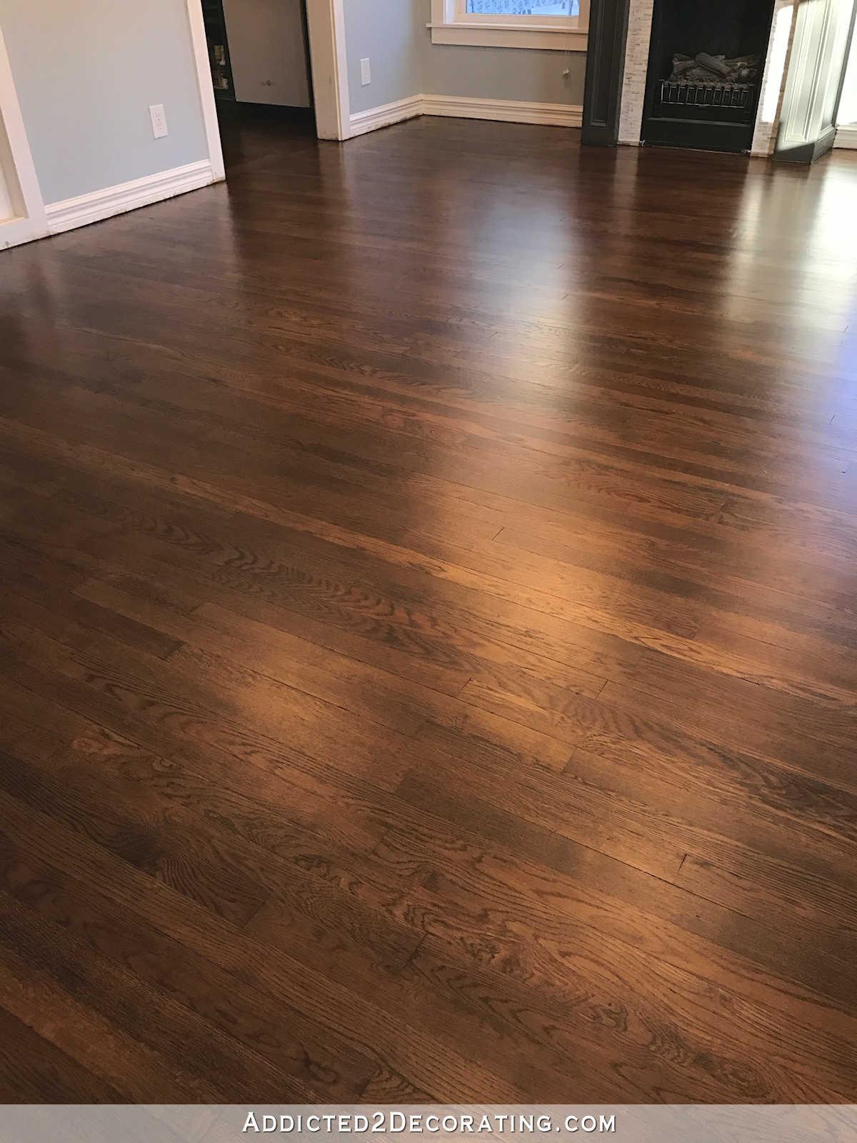 oak flooring refinished red oak hardwood floors - entryway and living room FHTMBFG