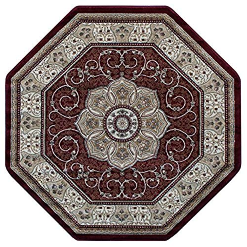 octagon rugs traditional octagon area rug design # 404 burgundy (4 feet x 4 feet) UCWLZZV