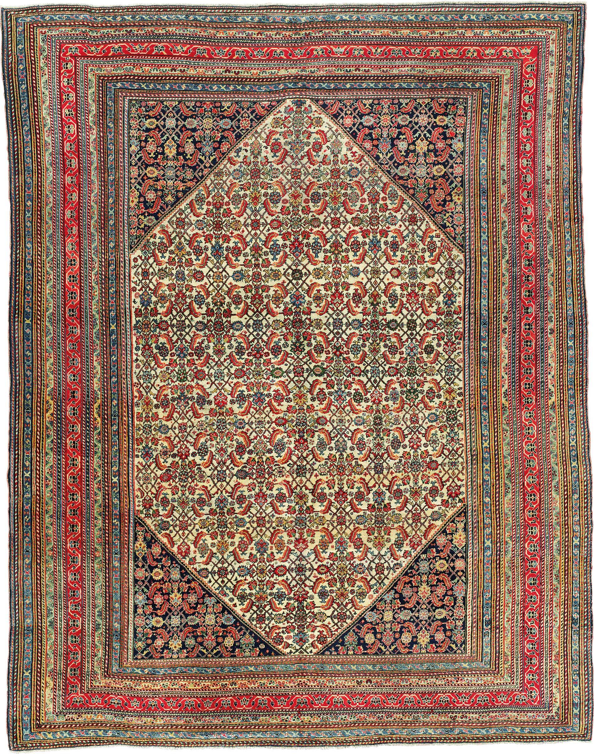 oriental carpets a qashqai rug. south persia, circa 1890. 8ft 1 in x 6ft 3 SOZATND