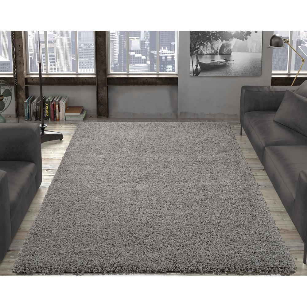 ottomanson contemporary solid gray 7 ft. x 9 ft. shag area rug KMVFKWM