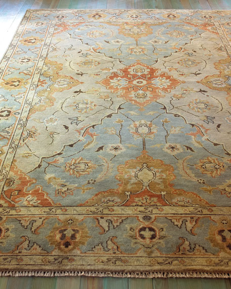 oushak rugs damask on blue oushak rug, 4u0027 x 6u0027 TPSQMWW