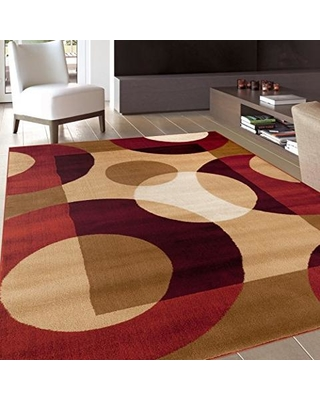 Red area rug modern circles red area rug (33 x 5) MKKYTVK