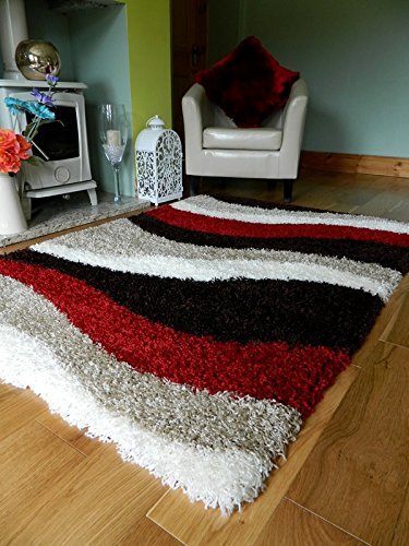 red brown cream shaggy rugs new small large thick 5cm pile height runners EBSEALG