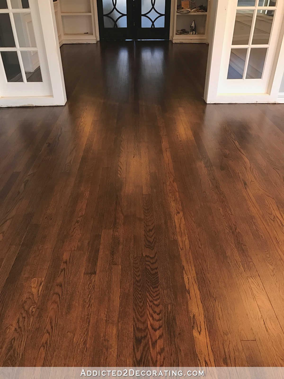 red oak flooring refinished red oak hardwood floors - entryway and music room RFKOEWU