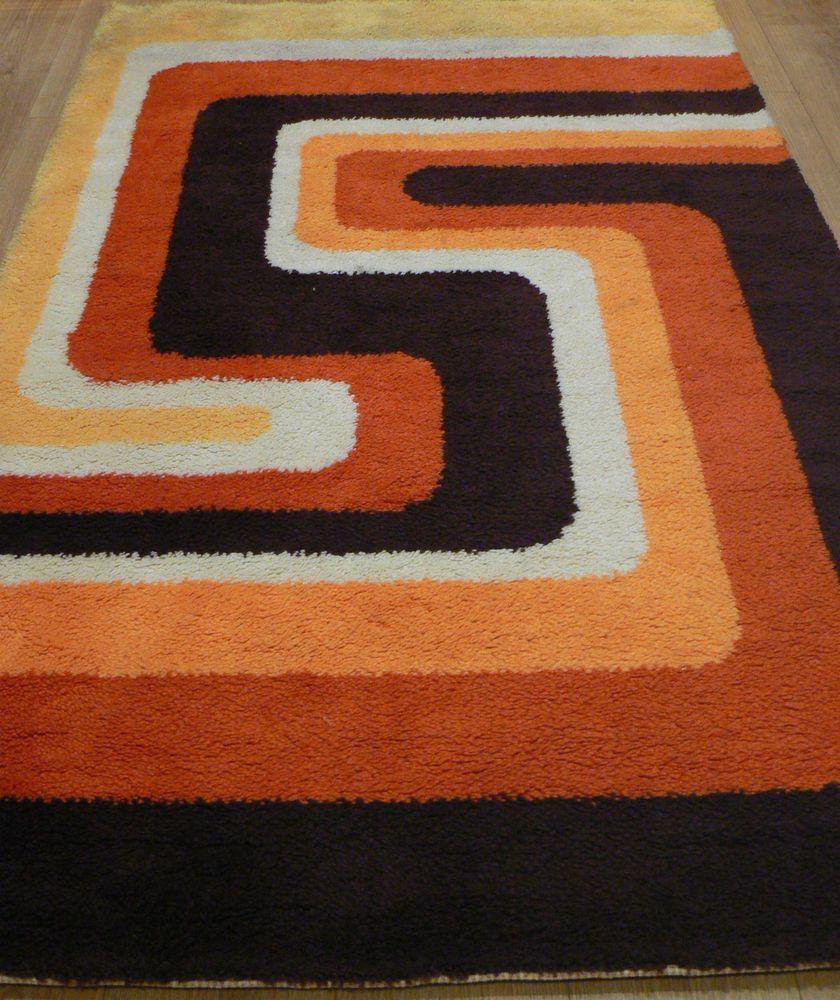 Retro rugs 60s rya pure wool rug orange psychedelic 50s 70s retro vintage danish KDWFPQT