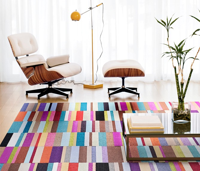 Retro rugs parallel reality allows homeowners to create their own colorful patterns by  arranging XVNDGGC