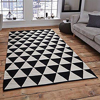 Retro rugs think rugs manhattan mh211a 100% wool indian handmade flat weave rug,  black/white BYTINIU