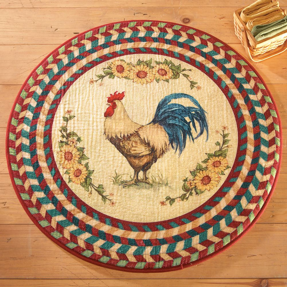 Rooster rugs round rooster rug-with sunflowers-multi colored classic printed rug is a  great way VXPKEIC