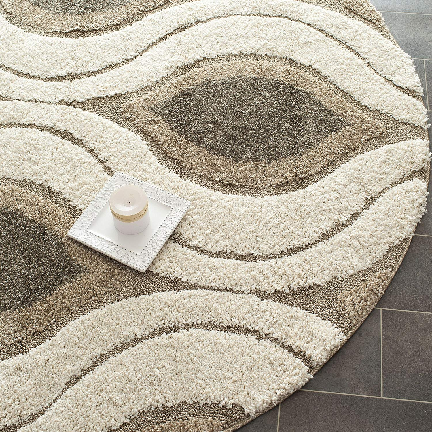 round area rug amazon.com: safavieh florida shag collection sg461-1179 cream and smoke round  area rug QYLWUXO
