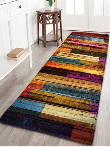 Rug carpet colorful stripes wood grain flannel rug KQWAWJB