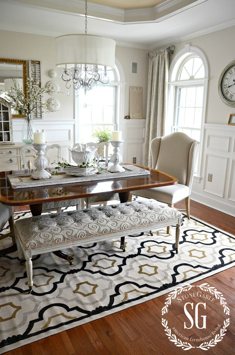 rugs for dining room 5 rules for choosing the perfect dining room rug-dining room -stonegableblog.com SBGRBEJ