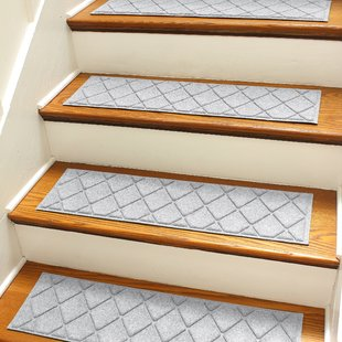 rugs on stairs aqua shield gray argyle stair tread (set of 4) QTTDNJK